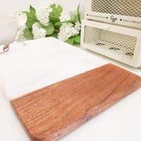Mango Wood And Marble Chopping Board - White
